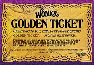 Willy Wonka Golden Ticket Tin Sign ThinkGeek
