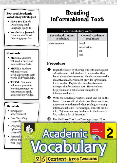 reading informational text academic vocabulary level