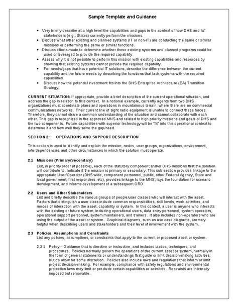 conops template conop exle concept of operations template ms word sle