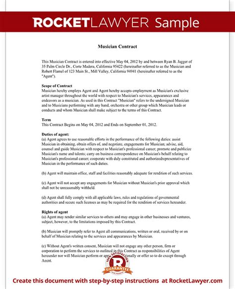 musician contract  agent contract template