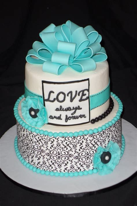 black white  tiffany blue bridal shower cake