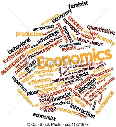 Abstract word cloud for economics with related tags and ...