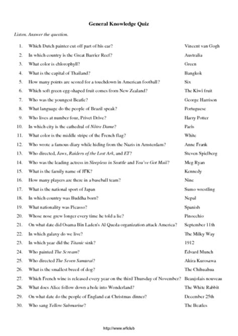 General Knowledge Quiz Worksheet For 5th  6th Grade  Lesson Planet