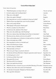 General Knowledge Quiz Worksheet For 5th 6th Grade