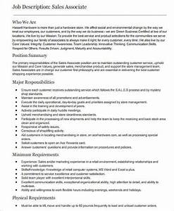 Senior Customer Service Job Description Free 6 Sample Retail Sales Associate Job Description