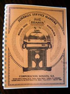 Wurlitzer Model 1050 Sonta Jukebox Manual