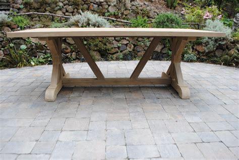 tuscany collection reclaimed teak trestle base table