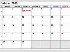 Kalender Oktober 2018 zum Ausdrucken [PDF, Excel, Word