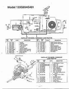 Electrical  Lawn Tractor Diagram  U0026 Parts List For Model