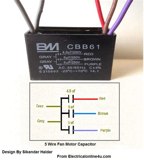 5 wire ceiling fan capacitor wiring diagram 5 wire ceiling fan capacitor wiring diagram electrical online 4u