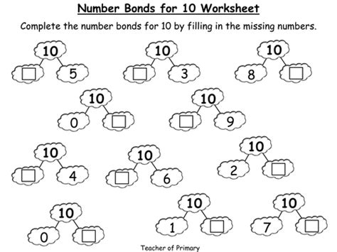 number bonds the story of 10 powerpoint presentation and worksheet by teacher of primary
