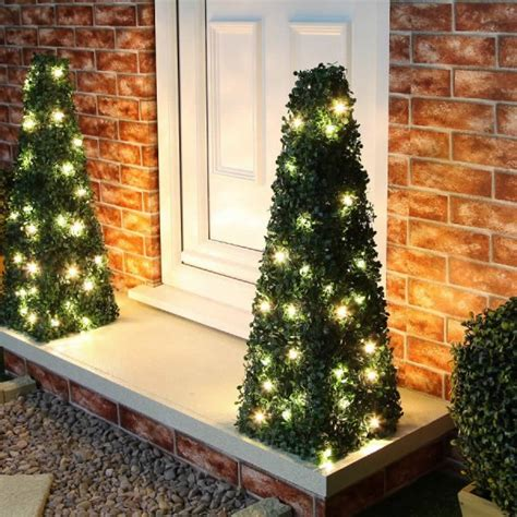 2 5ft boxwood outdoor artificial topiary tree with lights pre lit topiary
