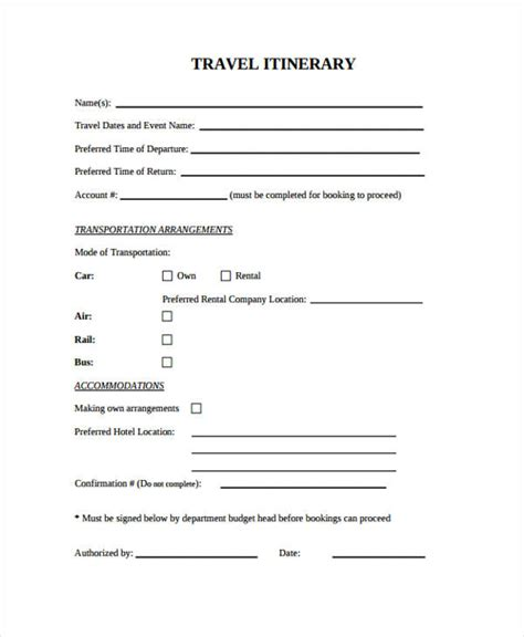 Blank Trip Itinerary Template by 9 Blank Travel Itinerary Templates Free Sle Exle
