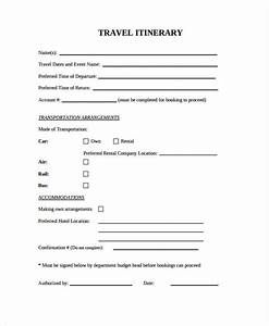 9 blank travel itinerary templates free sample example With blank trip itinerary template