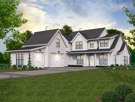 lucy modern farm house plan mark stewart home design