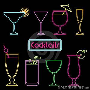 Neon Cocktail Signs Stock Image