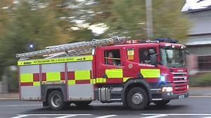British Fire Engine Responding   Police Activity