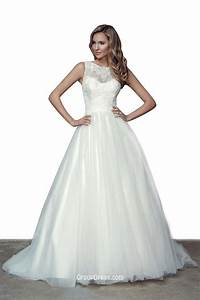romantic illusion crew neckline lace ball gown wedding With illusion wedding dress