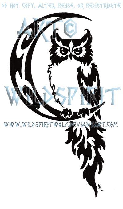 celestial owl  moon tribal design  wildspiritwolf
