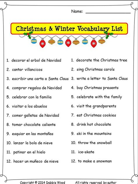 spanish christmas activities nouns and verbs debbie wood