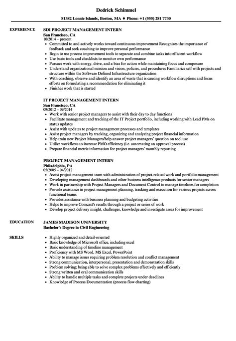 Project Manager Resume Exle by Internship Project Report Format