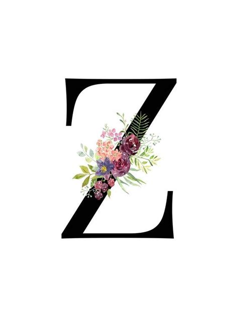 letter  floral monogram printable letter nursery art etsy   monogram printable