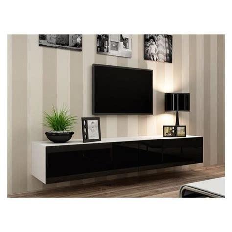 Meuble Tv Design Suspendu Vito 180 Blanc Et Noir