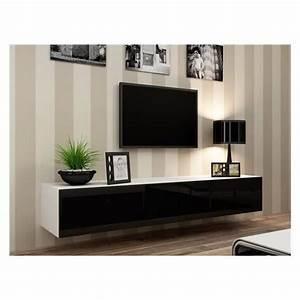 Meuble Salon Noir : meuble tv design suspendu vito 180 blanc et noir achat vente meuble tv meuble tv vito 180 bl ~ Teatrodelosmanantiales.com Idées de Décoration