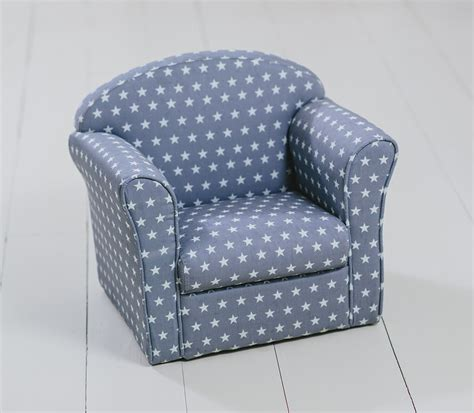 Children's Armchair Grey With White Stars Girl Boy Seating