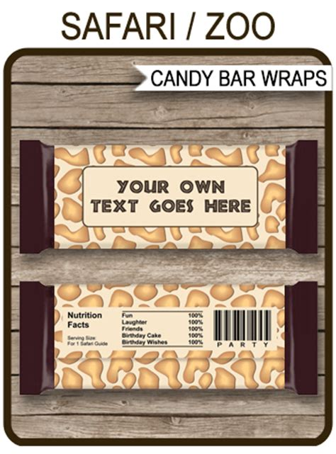 safari hershey candy bar wrappers zoo party chocolate