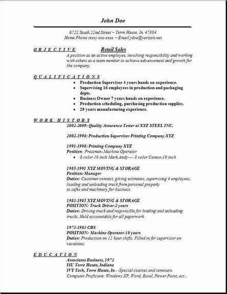 resume templates for retail sales position retail sales resume occupational exles sles free
