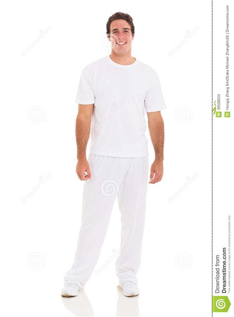 Young Man White Clothes Stock Photo Image Of Standing