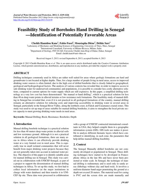 (PDF) Feasibility Study of Boreholes Hand Drilling in