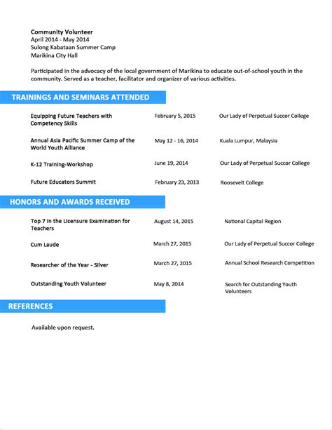 Resume Objective Exles For Fresh Graduates by Sle Resume Format For Fresh Graduates Two Page Format