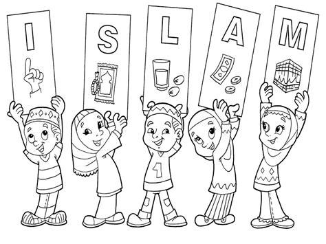 mewarnai gambar anak mengaji di masjid
