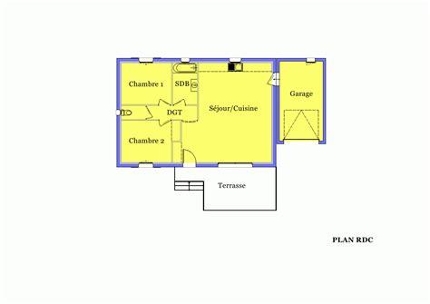 maison plain pied 3 chambres villa sur plan modèle amaryllis 70 m2 à construire dans