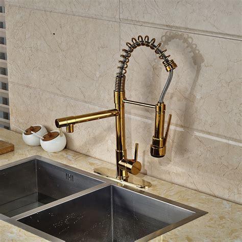 Cornet Gold Finish Kitchen Sink Faucet with Dual Spouts