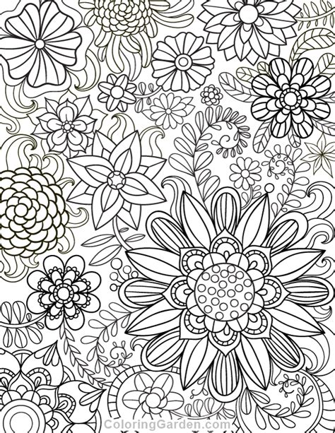 printable floral adult coloring page