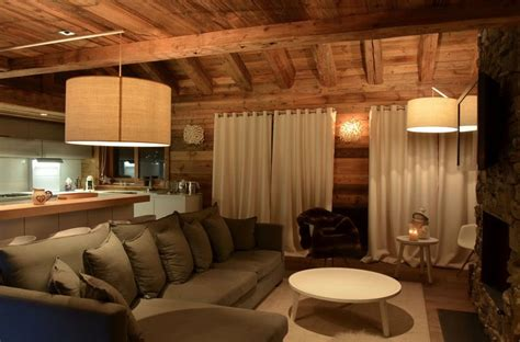 canapé chalet modern chalet interior design cosy neve design