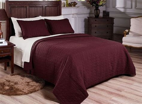 Vintage Washed 100% Cotton 3pcs Solid Burgundy Quilt