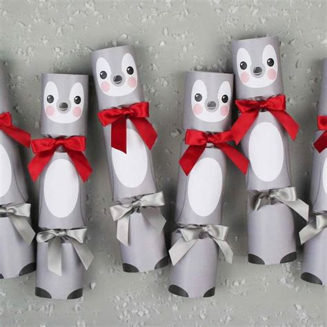 six luxury penguin christmas crackers by nancy betty