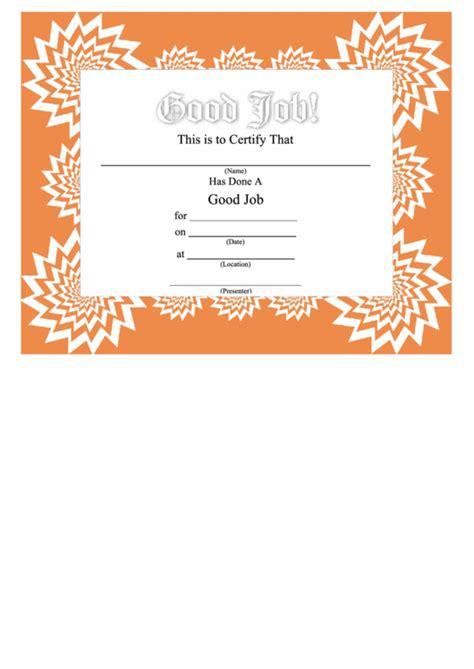 good job certificate printable