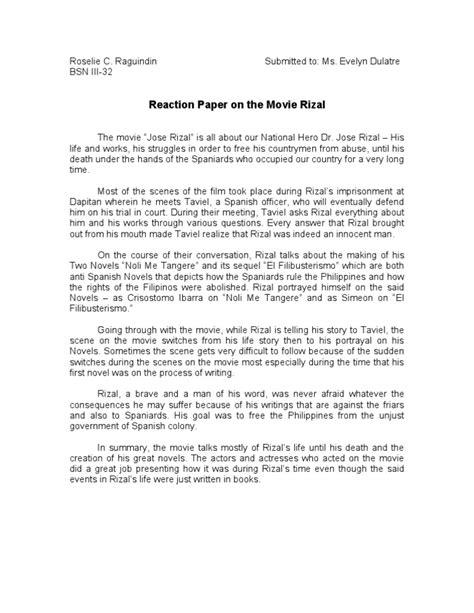 reaction paper rizal