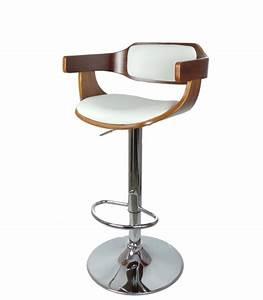 Tabouret De Bar Cuir : tabouret de bar design en bois et similicuir blanc ~ Dailycaller-alerts.com Idées de Décoration