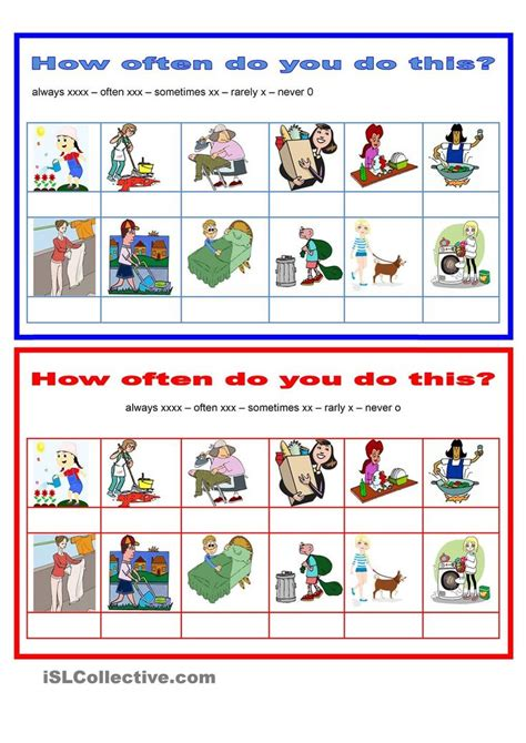 adverbs frequency   household chores
