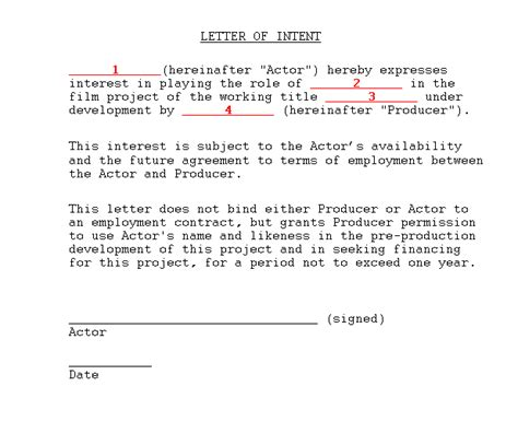sample actor letter  intent  producing film