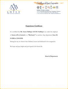 employment certificate sample  templates pinterest