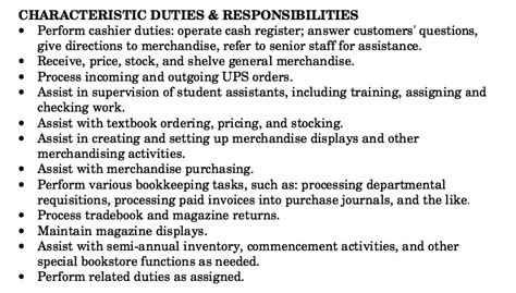bookstore clerk description resume resumes design