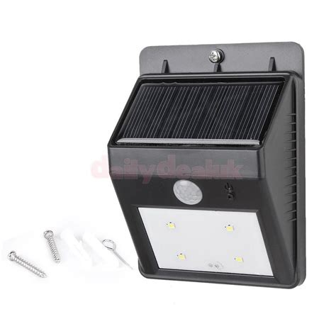 solar sensor wall light outdoor 4 led solar panel pir motion sensor wall light