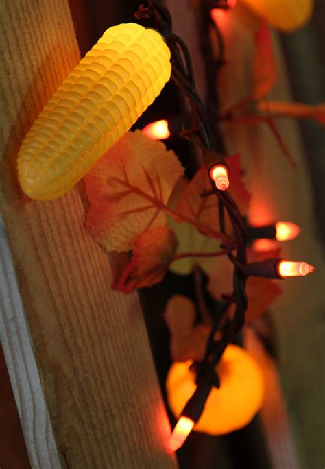 foot harvest garland  lights maple leaves corn